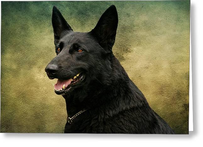 Indiana Art Greeting Cards - Black German Shepherd Dog III Greeting Card by Sandy Keeton