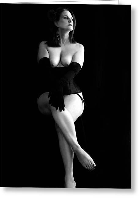 Posters Of Nudes Greeting Cards - Black Gloves Greeting Card by Kathleen Horner