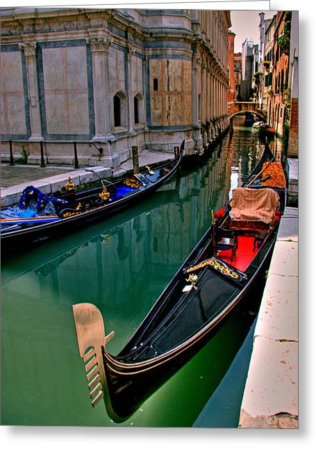 Canal Prints Greeting Cards - Black Gondola Greeting Card by Peter Tellone