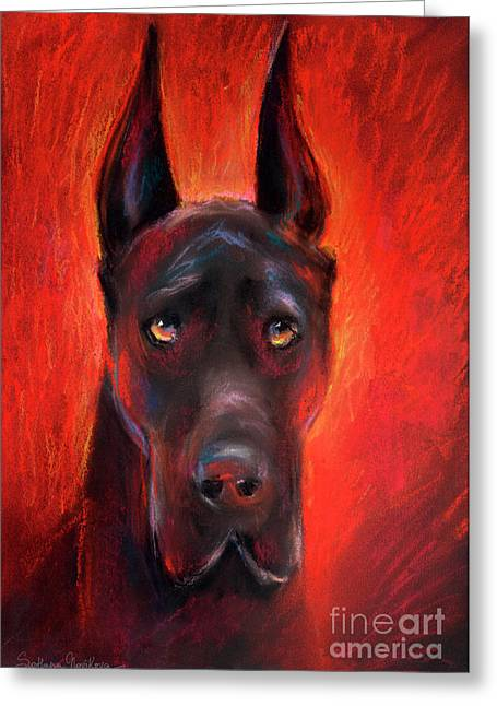"""texas Artist"" Greeting Cards - Black Great Dane dog painting Greeting Card by Svetlana Novikova"
