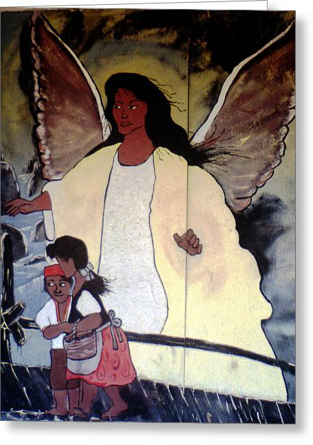 Best Sellers -  - Toy Shop Greeting Cards - Black Guardian Angel Mural Greeting Card by Doug  Duffey