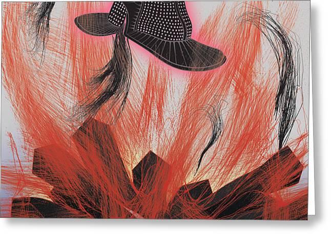 Black Hat Greeting Card by Foltera Art