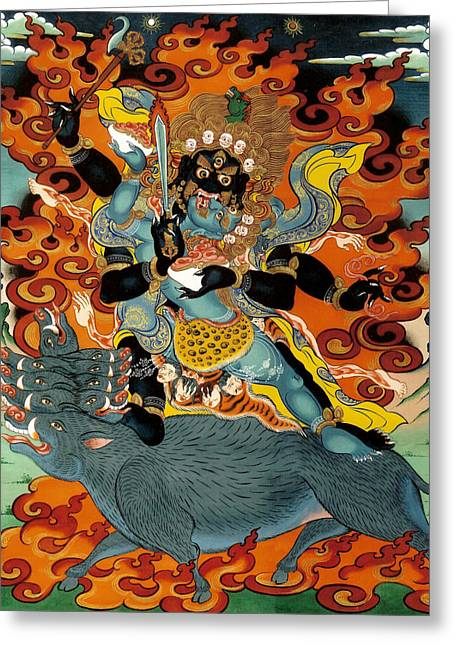 Mural Greeting Cards - Black Hayagriva Greeting Card by Sergey Noskov