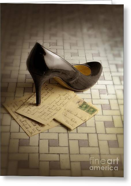 Love Letter Greeting Cards - Black High Heel Shoe on Letter Greeting Card by Jill Battaglia