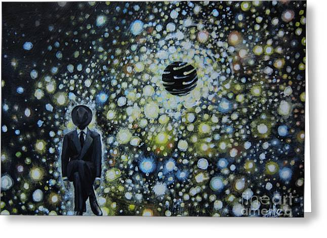 Political Allegory Paintings Greeting Cards - Black Hole Man Greeting Card by Shelly Leitheiser