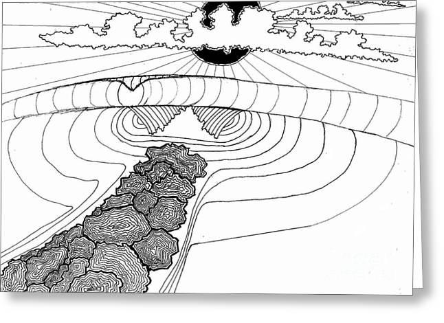 Surf Art Drawings Greeting Cards - Black Hole Sun Greeting Card by Wesley Singh