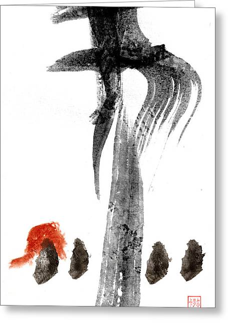 Sumi Greeting Cards - Black Ink Red Paint Greeting Card by Carol Leigh