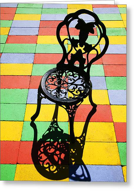 Ironwork Greeting Cards - Black iron chair Greeting Card by Garry Gay