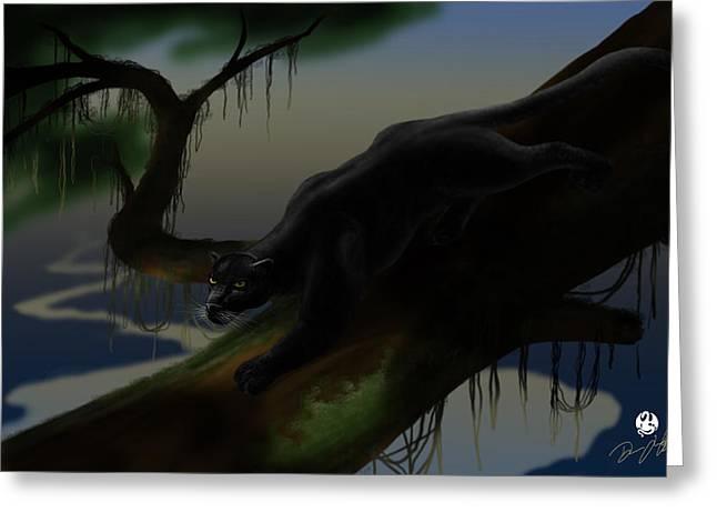 """jungle Vines"" Greeting Cards - Black Jungle Panther Greeting Card by Devaron Jeffery"
