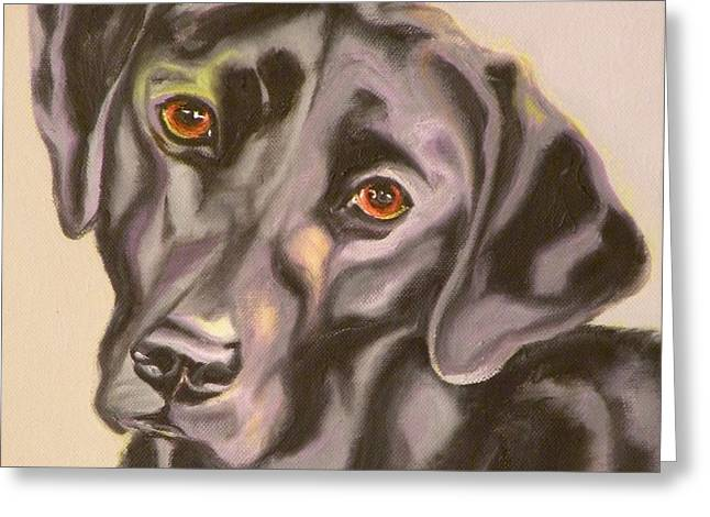 Puppies Drawings Greeting Cards - Black Lab Aint No Cure For Love Greeting Card by Susan A Becker