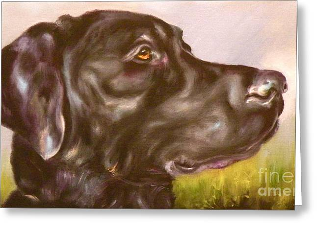 Labs Drawings Greeting Cards - Black Lab In The Field Greeting Card by Susan A Becker