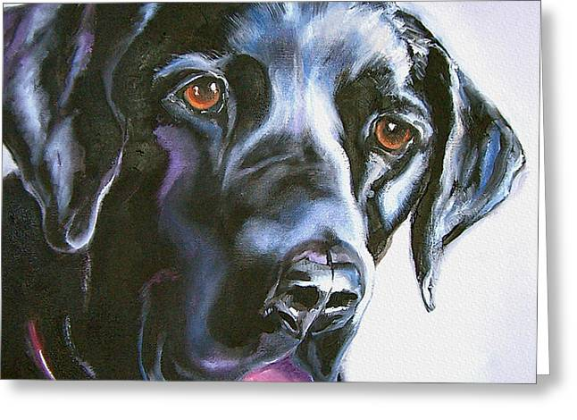 Labs Drawings Greeting Cards - Black Lab No Ordinary Love Greeting Card by Susan A Becker