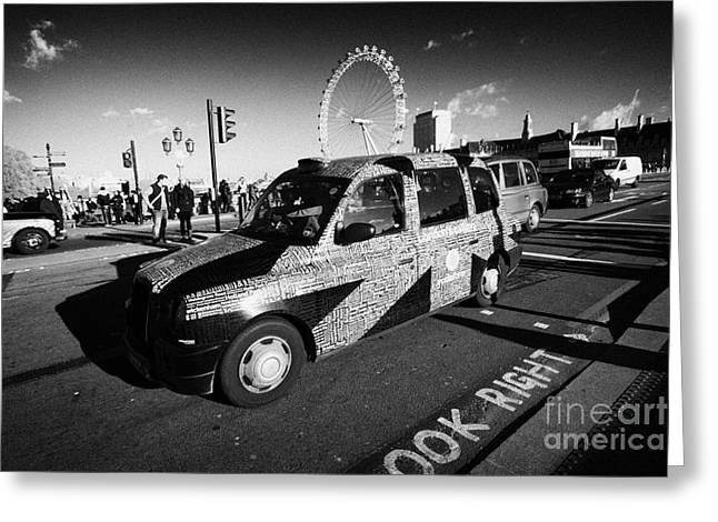 Hackney Greeting Cards - Black London Cab Taxi With Union Flag Advertising On Westminster Bridge In Central London England Greeting Card by Joe Fox