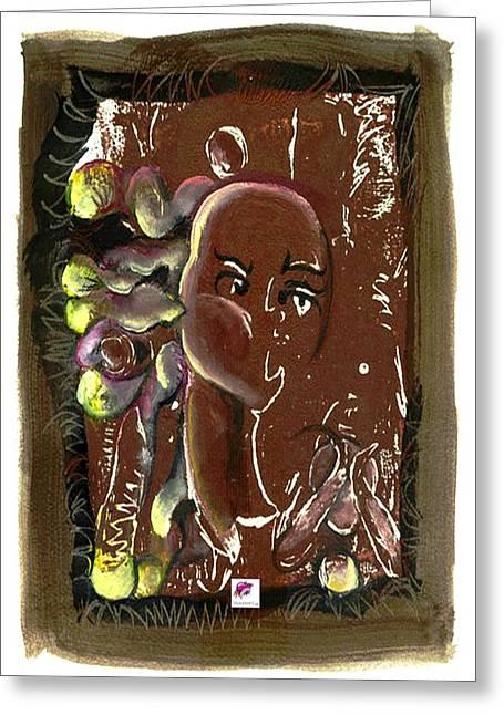 Yellows Reliefs Greeting Cards - Black Madonna and Child Greeting Card by Carol Rashawnna Williams