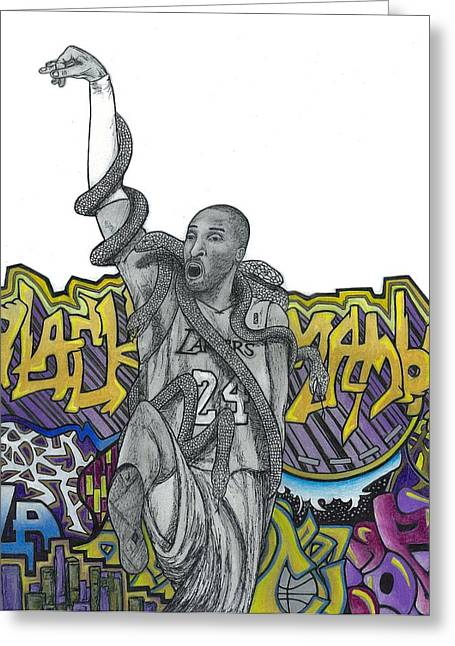 Kobe Bryant Greeting Cards - Black Mamba Greeting Card by Steve Weber