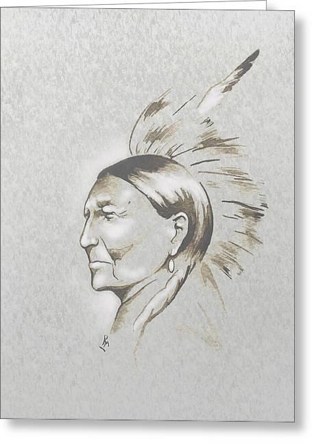 Indian Ink Mixed Media Greeting Cards - Black Man Greeting Card by Robert Martinez