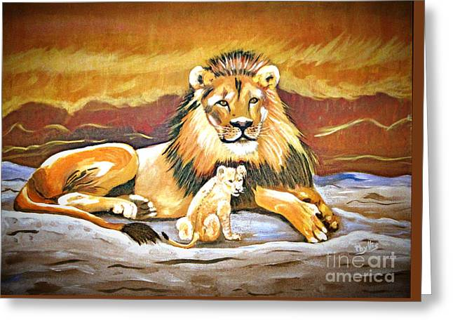 Lions Greeting Cards - Black maned Lion and Cub Greeting Card by Phyllis Kaltenbach