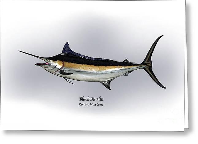 Billfish Greeting Cards - Black Marlin Greeting Card by Ralph Martens