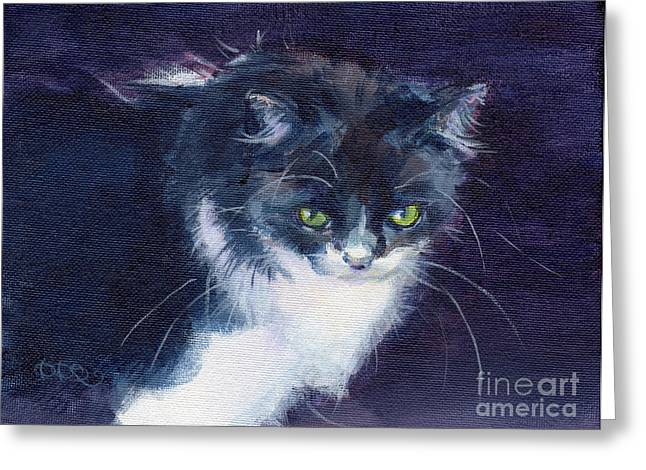 Feline Greeting Cards - Black on Blacl Greeting Card by Kimberly Santini