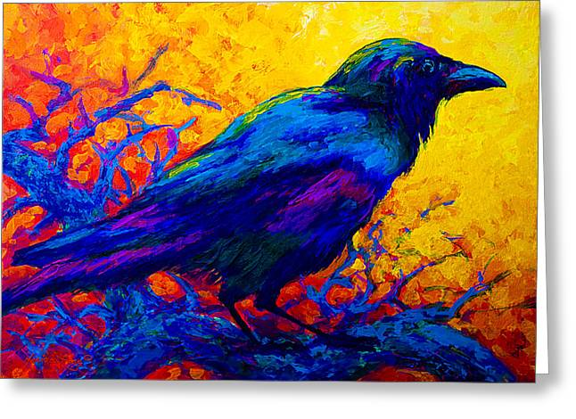 Animals Paintings Greeting Cards - Black Onyx - Raven Greeting Card by Marion Rose