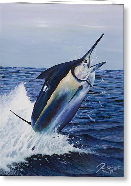 Black Marlin Paintings Greeting Cards - Black Out Greeting Card by Rick Bogert