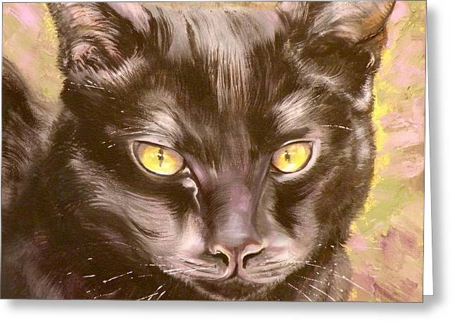 Cat Drawings Greeting Cards - Black Pearl Greeting Card by Susan A Becker