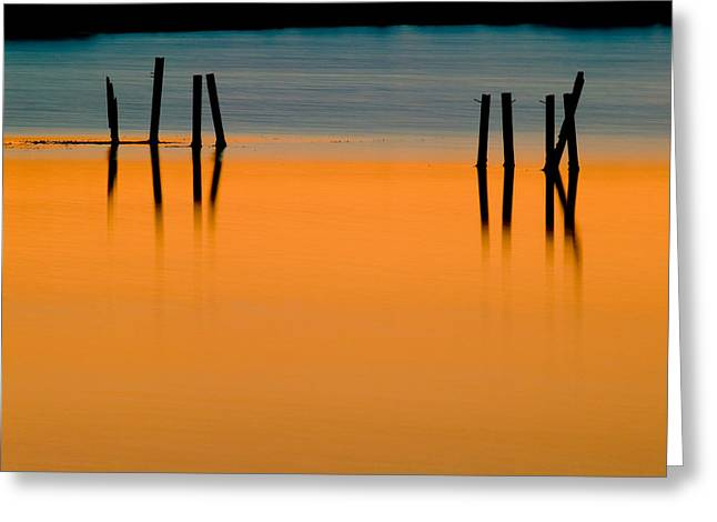 Refelctions Greeting Cards - Black Pilings Orange Water Greeting Card by Rich Franco