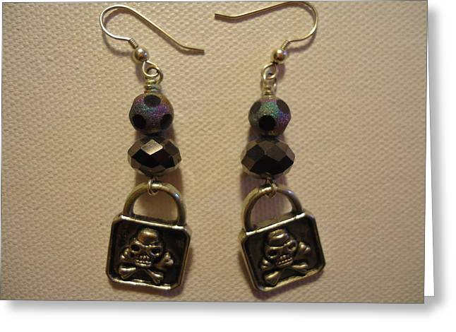 Fine Jewelry Greeting Cards - Black Pirate Earrings Greeting Card by Jenna Green
