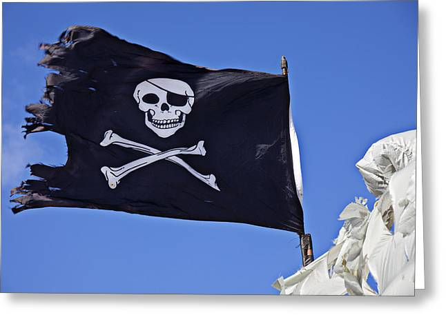 Pirate Photographs Greeting Cards - Black Pirate Flag  Greeting Card by Garry Gay