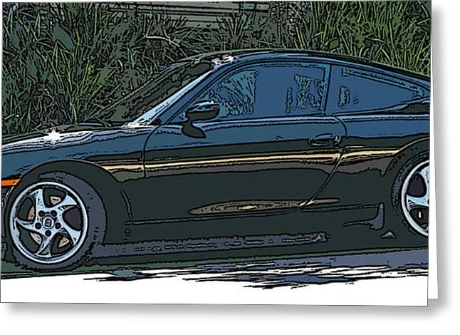 Samuel Sheats Greeting Cards - Black Porsche Carrera 2 Greeting Card by Samuel Sheats