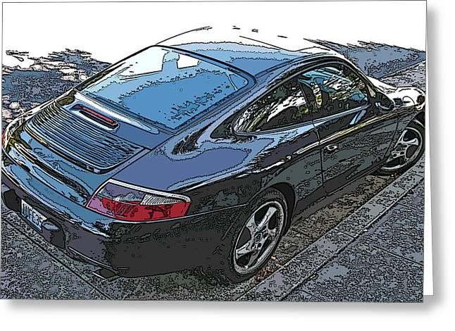 Samuel Sheats Greeting Cards - Black Porsche Carrera Greeting Card by Samuel Sheats