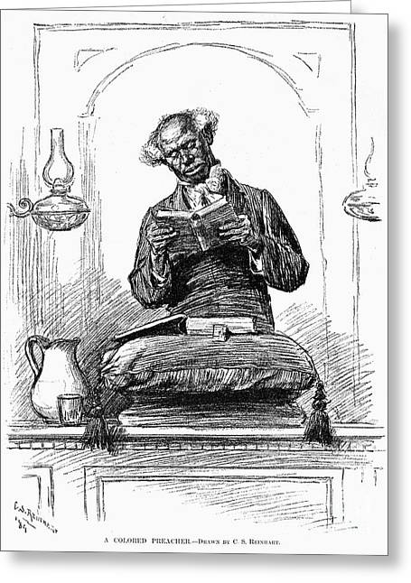 Man Reading The Bible Greeting Cards - Black Preacher, 1890 Greeting Card by Granger