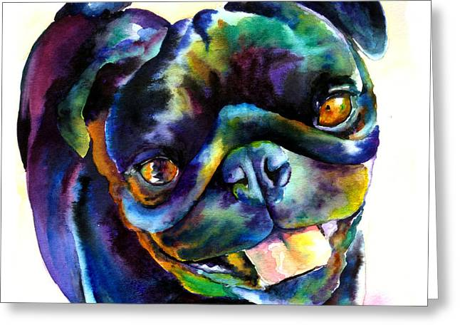 Dogs. Pugs Greeting Cards - Black Pug Greeting Card by Christy  Freeman