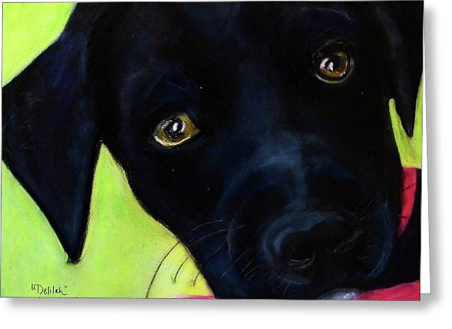 Puppies Mixed Media Greeting Cards - Black Puppy - Shelter Dog Greeting Card by Laura  Grisham