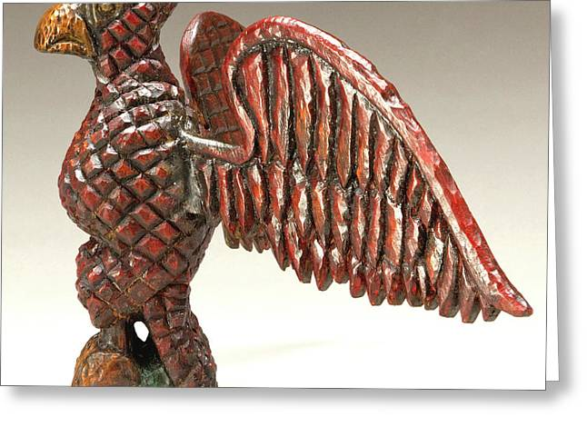 Winged Sculptures Greeting Cards - Black Schimmel Greeting Card by James Neill