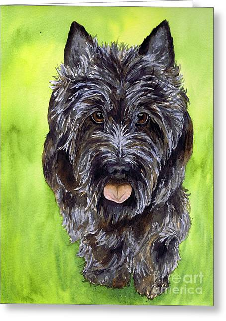 Scottish Terrier Greeting Cards - Black Scottish Terrier Greeting Card by Cherilynn Wood