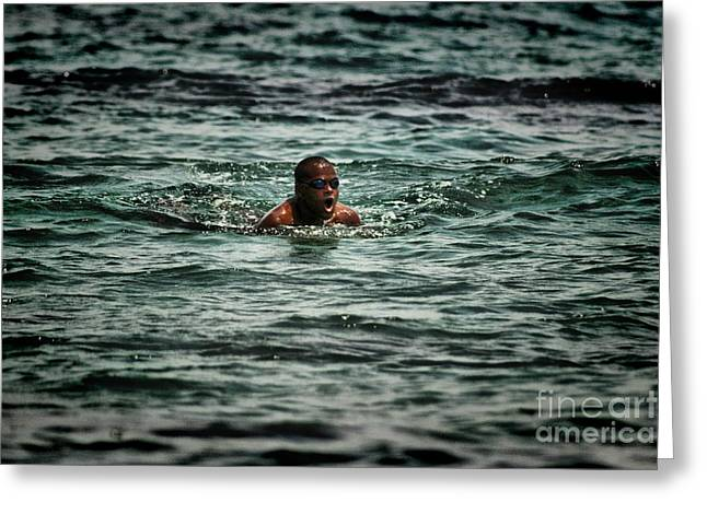 Swimmers Pyrography Greeting Cards - Black Sea Greeting Card by Slavyan Kostov