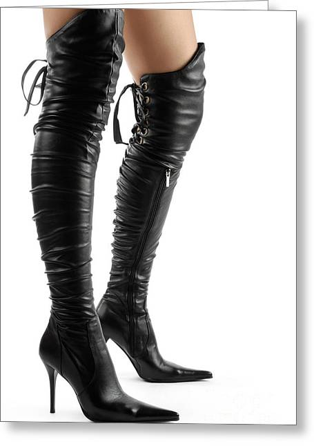 Footgear Greeting Cards - Black Sexy Thigh High Stiletto Boots Greeting Card by Oleksiy Maksymenko