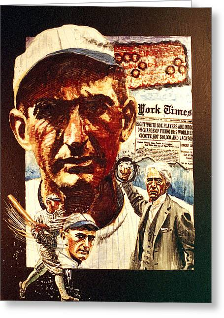 Red Sox Paintings Greeting Cards - Black Sox Greeting Card by Ken Meyer jr
