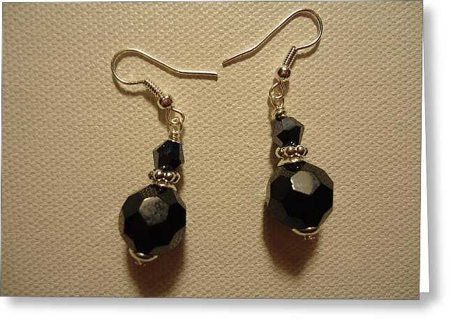 Jenna Jewelry Greeting Cards - Black Sparkle Drop Earrings Greeting Card by Jenna Green
