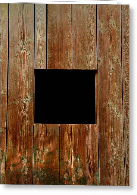 Runner Boards Greeting Cards - Black Square Barn Window Greeting Card by Jeff Lowe