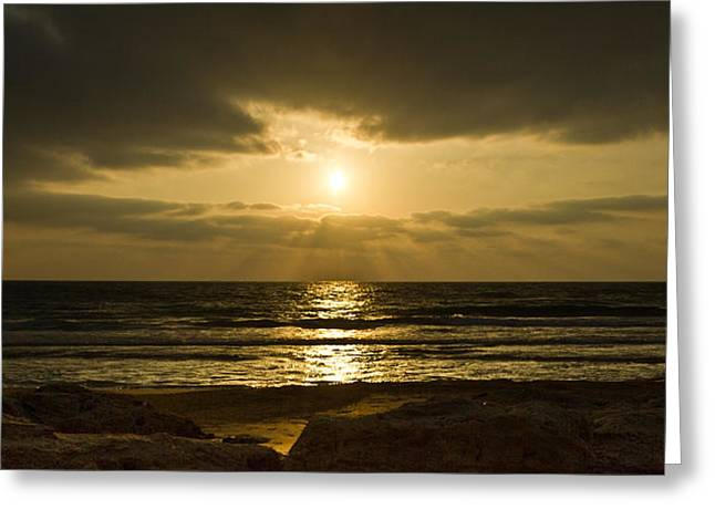 Ray Greeting Cards - Black Sunset Greeting Card by Nadya Ost