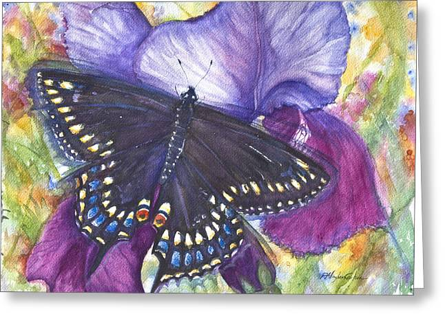 Black Swallowtail Butterfly Greeting Card by Patricia Allingham Carlson