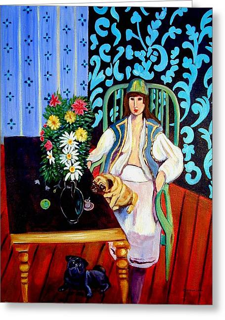 Matisse Greeting Cards - Black Table with Pugs Greeting Card by Lyn Cook