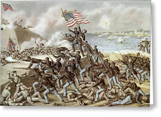 Wagner Greeting Cards - Black troops of the Fifty Fourth Massachusetts Regiment during the assault of Fort Wagner Greeting Card by American School
