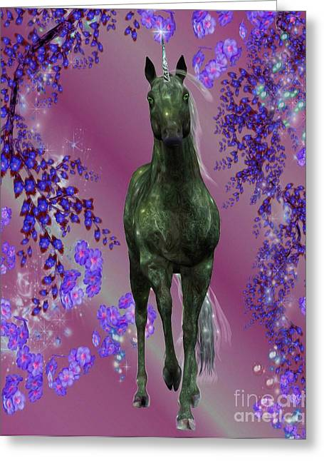 Black Unicorn Greeting Cards - Black Unicorn And Flowers Greeting Card by Smilin Eyes  Treasures