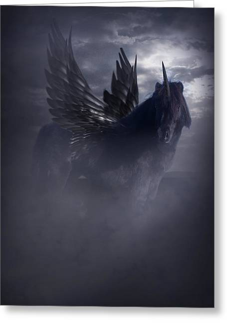 Black Unicorn Greeting Cards - Black Unicorn Pegasus Fantasy Artwork Greeting Card by Ethiriel  Photography