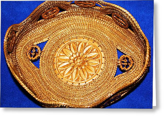 Pine Needles Mixed Media Greeting Cards - Black Walnut Laced Pine Needle Basket Greeting Card by Georgiana and Russell Barton