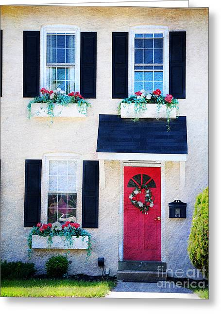 Flower Boxes Greeting Cards - Black Window Shutters with Flowers Greeting Card by Paul Ward