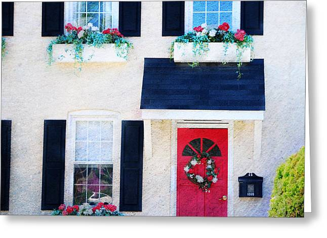 Black Window Shutters with Flowers Greeting Card by Paul Ward
